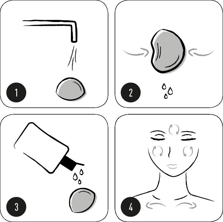 Nettoyer le visage avec l'éponge konjac binchotan